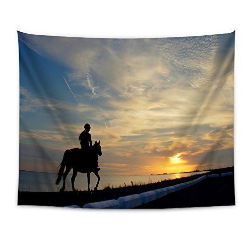 (WONDERTIFY Horseback Rider Girl Silhouette Horse Lake Borders Tapestry Wall Hanging Bedspread Dorm Tapestry Decorative Wall Hanging 60 X 90 Inches)