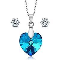 Gem Stone King Collection Bermuda Blue Heart Pendant