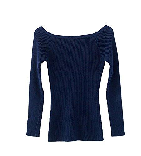 Pull Sweat Manche Longue Top Femme Slim Fit Tricots Couleur Unie Marine