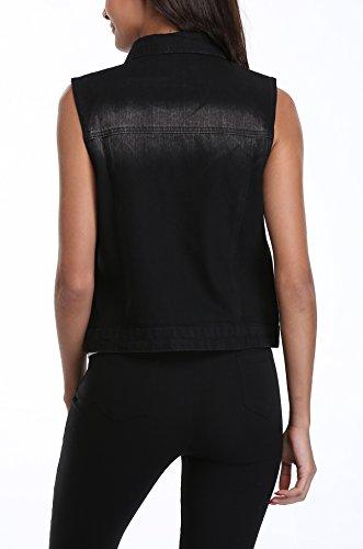 Boutonnées Lavé Denim Moly Rabat Femme Jeans Poches Avec Veste Noir Miss wxXqIYI
