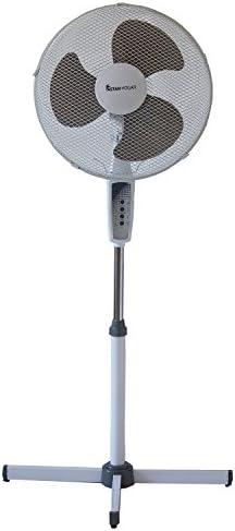 Ventilador de Pie con Mando a Distancia y Temporizador hasta 7.5h. Diametro 40 cms. Regulable en altura a 1.3 m. Potencia 45W. Modelo Capri: Amazon.es: Hogar