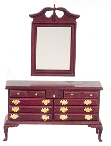 Handley House Dollhouse Miniature Traditional Working Dresser with Mirror in Mahogany - Mahogany Traditional Dresser