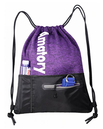 Drawstring Backpack Sackpack Sports Athletic Gym Sack String Bag Men Women Kids (Purple) from Amatory