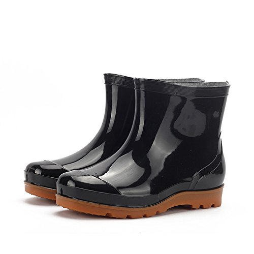 HUAN Men's Mid Calf Rain Boots Water Shoes Low Ladies Slip On Short Boots CAR WASH Work Fishing (Color : Black, Size : 44)