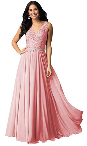 Now and Forever Plus Size A-Line Beaded Lace Evening Prom Dress Long for Women Formal Party Gown (Dusty Pink,18W)