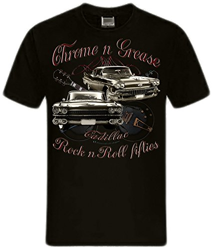 Shirtmatic Chrome Grease Motor Rock Guitars Hot Rod Rock n Roll Rockabilly T-Shirt (3XL, Cadillac black)