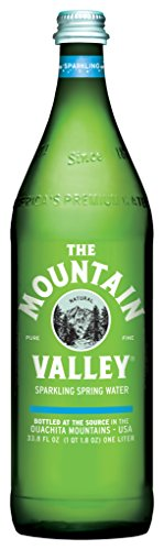THE MOUNTAIN VALLEY NATURAL PURE FINE Sparkling Spring Water 1 L. Pack of 12 - Mountain Spring Water