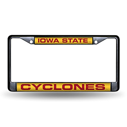 - Rico Industries NCAA Iowa State Cyclones Laser Cut Inlaid Standard Chrome License Plate Frame, 6