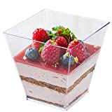 Tosnail 3.5 Oz Square Clear Plastic Mini Dessert Tumbler Cups - 80 Pack