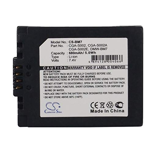 Camera Battery, 680mAh/5.03Wh 7.4V Camera Battery For Panasonic CGA-S002 CGA-S002A CGA-S002A/1B DMC-FZ10 DMC-FZ10EB DMC-FZ10EG-K ,Backup Camera Cells ( Color : Black , Size : 44.16 x 35.60 x 12.23mm - 680 Mah Replacement
