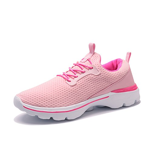 XINBEIGE Womens Lightweight Tennis Shoes Breathable Walking Sneakers Sports Yoga Jogging Running Shoes, Pink, US 8.5=EU 39 WOMENS
