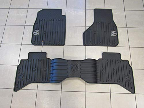 Mopar Dodge RAM 1500 Quad Cab Rubber Floor Mat Set Front & Rear New OEM