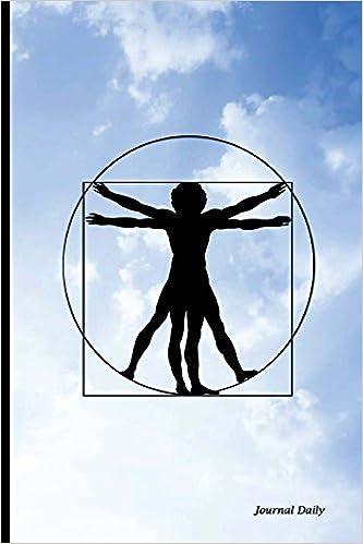journal daily blank lined journal blue sky design vitruvian man6 x 9 150 pages durable soft coverleonardo da vinci