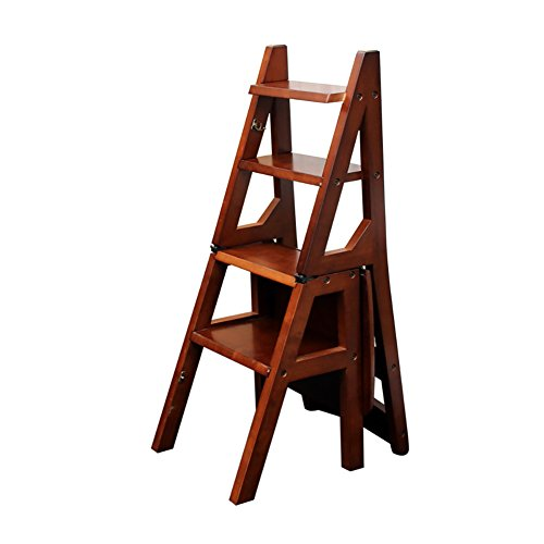Ladder Chair 4 Tier Folding Wood Step Stool Bench Seat Utility Home Kitchen Ladder Stool (Color : Walnut color) (Game Table Walnut Set)
