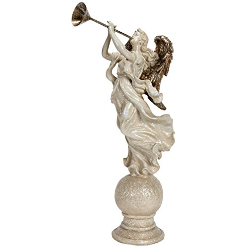 20 Inch Silver and White Glitter Christmas Angel Blowing Horn Figure - Tabletop Holiday Decoration ()