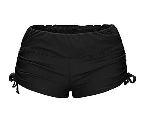 ReliBeauty Women's Adjustable Ties Boy Short Swim Bottoms, Black, Small