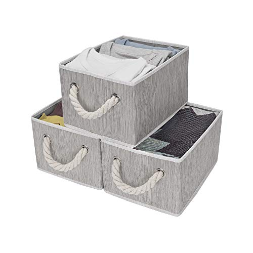 StorageWorks Storage Decorative Storage Bin with Cotton Rope Handles, Foldable Storage Basket, Gray, Bamboo Style, 3-Pack, Medium, 11.4x8.7x6.7 inches. (LxWxH) -