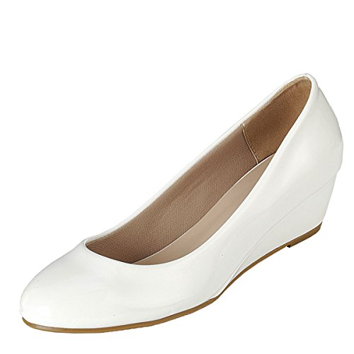 Forever Link Womens Round Toe Slide Slip On Patent Leather L