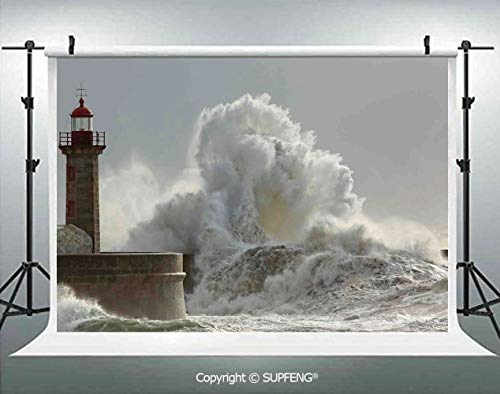 Photography Background Big Waves in a Sunny Storm Portuguese North Coast Catastrophe Disaster Beacon 3D Backdrops for Photography Backdrop Photo Background Studio Prop]()