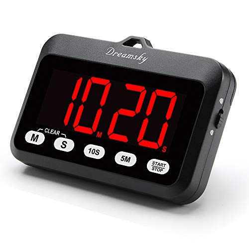 DreamSky Digital Kitchen Timer with Large Red Digit Display, Loud Alarm with Volume Adjustable (High/Low), Count Up/Down Timer, Magnetic Back Stand, Battery Operated, Easy Operation. ()