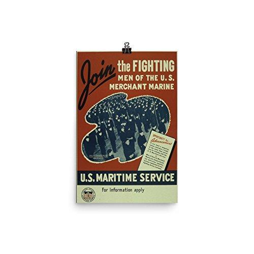 Vintage Poster   U S  Maritime Service   Premium Luster Photo Paper Poster  12X18
