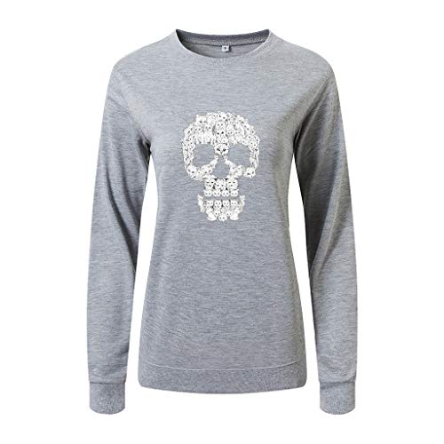 Lady Gaga Skull Costume (KLFGJ Women Slouchy Shirts Halloween Skull Print Sweatshirts Long Sleeve Pullover)