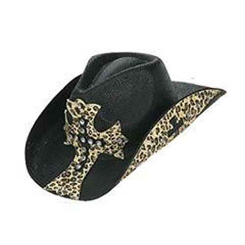[Peter Grimm Ltd Women's Rock Star Leopard Print Straw Cowgirl Hat Black One Size] (Leopard Cowboy Hat)