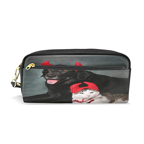 ALAZA Cat and Dog Wearing Devil Halloween Costumes Pencil Case Pen Bag Stationery Pouch Purse Cosmetic Makeup Bag Zipper for Girls Boys Kids]()