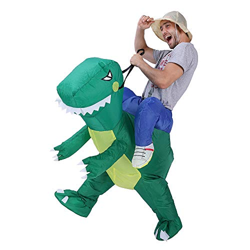 Faneirys Inflatable Dinosaur T-REX Costume | Inflatable Costumes for Adults| Halloween Costume | Blow up Costume (Green)