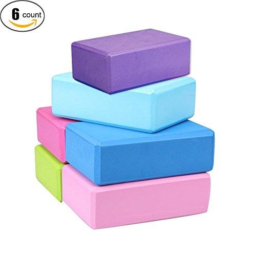 XHSP High Density EVA Foam Bricks Yoga Foam Exercise Blocks,6 packs
