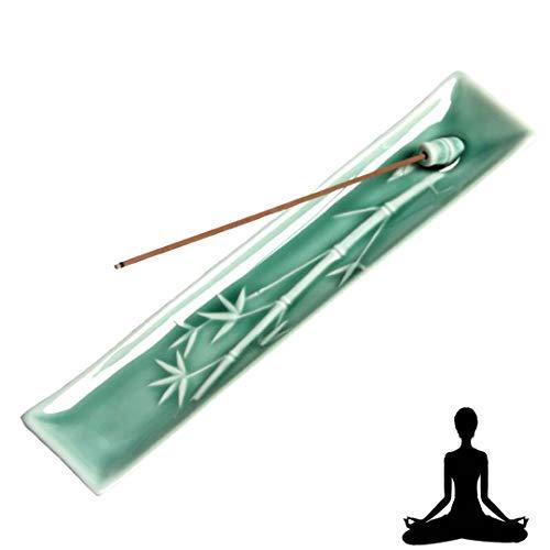 Layssa Incense Stick Holder Hand-Made Incense Holder Ceramic Incense Burner Bamboo Shape 1Pcs -