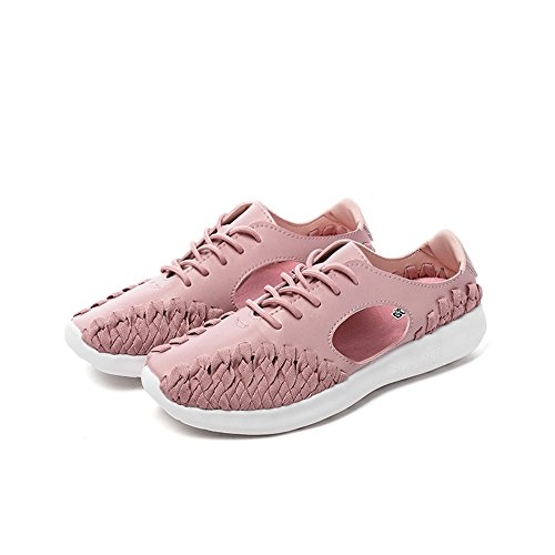 Monrinda Lightweight Low-top Trainers Women Closed Toe Designed Summer Sandals New Flat Woven Trainers Fashion Hollow Knit Lace up Strap Sandals Soft Antiskid Fisherman Sneakers Pink
