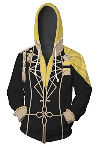 COSTHAT Fire Emblem Three Houses Golden Deer Sweatshirt Zip-Up Hoodie Cosplay Costume Unisex (M, Gold) (Hoodie Emblem Fire)