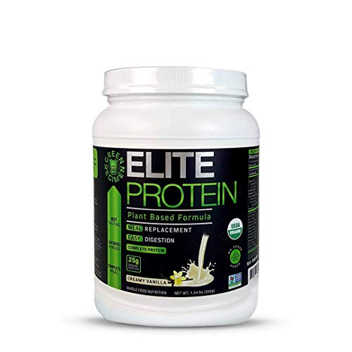 Elite Protein - Organic Plant Based Protein Powder, Vanilla, Pea and Hemp Protein, Muscle Recovery and Meal Replacement Protein Shake, USDA Organic, Non-GMO, Dairy-Free - Vegan - 14 Servings