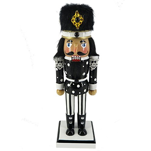 (Christmas Holiday Wooden Nutcracker Figure with Traditional Black and White Uniform Jacket, Black Boots, and Fur Hat with Stripes and Polka Dot Rhinestone Sparkle Details Large, 10 Inch)