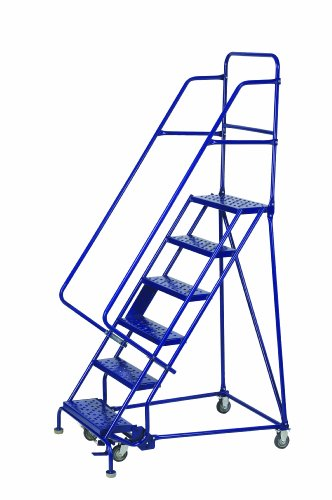 Louisville Ladder GSW2406 Rolling Warehouse Ladder with 24-Inch Step Width and Handrails, 60-Inch Platform Height, (Louisville Rolling Ladders)