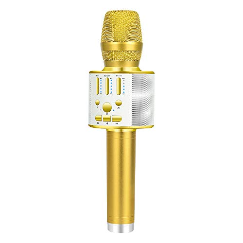 BONAOK 【2019 Upgraded 】Bluetooth Wireless Karaoke Microphone, Portable handheld Rechargeable Karaoke Machine Speaker with Stereo Sound Party Home Birthday Gift for all iPhone/Android/PC(Gold) ()