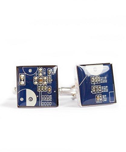 Dark Blue Circuit Board Cufflinks, recycled gift for computer geek