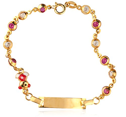 14K Yellow Gold 6 Inch Children ID Bar Link Bracelet with Teddy Bear Charm and (14k Gold Bar Link)