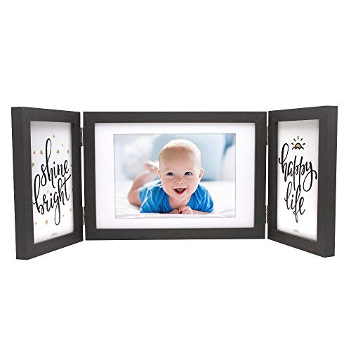Afuly Three Picture Frame 4x6 and 5x7 Black Collage Hinged Folding Triple Photo Frames for Desk 3 Opening Wedding Gifts