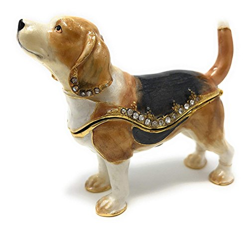 Kubla Crafts Enameled Beagle Trinket Box, Accented with Austrian Crystals