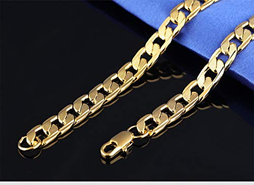USUASI 7MM Wide Men Stainless Steel 18K Gold Necklace 304 Stainless Steel Chain CN02475