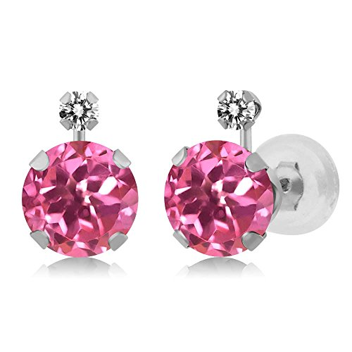 2.07 Ct Round Pink Mystic Topaz White Diamond 14K White Gold Earrings (Si1 Earrings Si2)