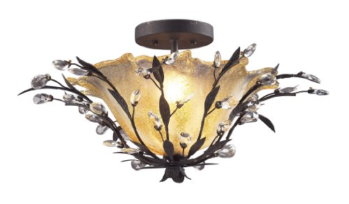Elk 8059/2 2-Light Semi Flush In Deep Rust and Crystal (Garden District Collection)