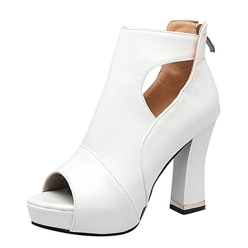 MissSaSa Damen high heel T-Spange Peep toe Plateau Pumps Weiß