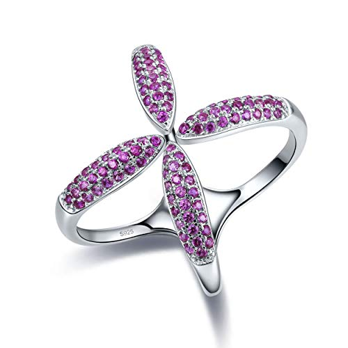 Yeinos Womens Created Ruby Criss Cross Ring 925 Sterling Silver