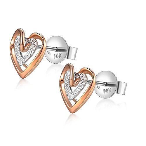 Rose Gold Heart Earrings Amazon