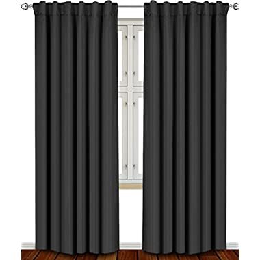 Blackout, Room Darkening Curtains Window Panel Drapes - (Black Color) 2 Panel Set, 52 inch wide by 84 inch long each panel, 7 Back Loops per Panel, 2 Tie Back Included - by Utopia Bedding