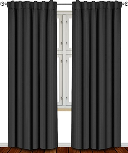 Utopia Bedding - Blackout Room Darkening and Thermal Insulating Window Curtains/Panels/Drapes - 2 Panels Set - 7 Back Loops per Panel - 2 Tie Back Included (Black, 52 x 84)