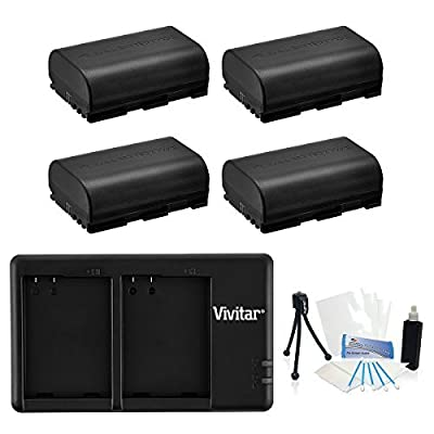 4-Pack LP-E6 High-Capacity Replacement Battery with Rapid Dual Charger for Select Canon Digital Cameras - UltraPro Bundle Includes: Camera Cleaning Kit, Camera Screen Protector, Mini Travel Tripod